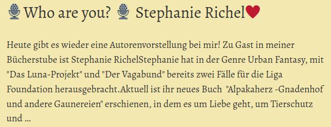 Screenshot von Gila's Blog Beitrag zum Interview